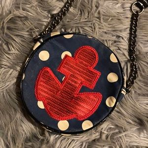 Nautical theme Crossbody bag w/ red sequin anchor